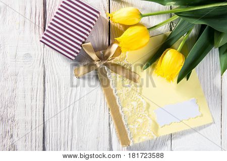 Bouquet Of Tulips, Card And Gift Box