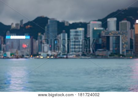 Office blurred bokeh light business downtown Hong Kong city abstract background