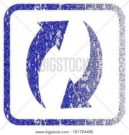 Refresh textured icon for overlay watermark stamps. Blue vectorized texture. Flat vector symbol with unclean design inside rounded square frame. Framed blue rubber seal stamp imitation.