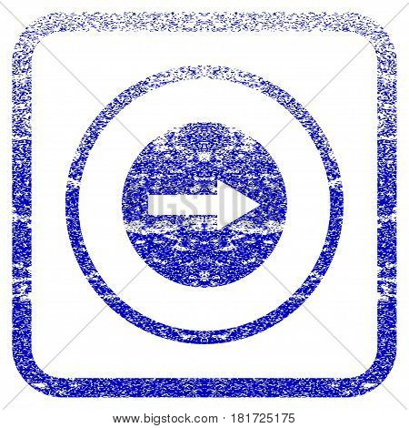 Right Rounded Arrow textured icon for overlay watermark stamps. Blue vectorized texture. Flat vector symbol with unclean design inside rounded square frame. Framed blue rubber seal stamp imitation.