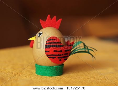 funny easter egg decorated like a cock