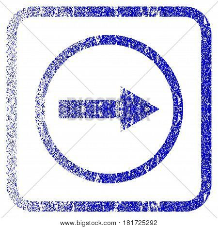 Right Rounded Arrow textured icon for overlay watermark stamps. Blue vectorized texture. Flat vector symbol with dust design inside rounded square frame. Framed blue rubber seal stamp imitation.