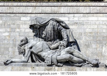 Sculptures by Juan de Avalos in cross Valley of the Fallen Valle de los Caidos Madrid spain