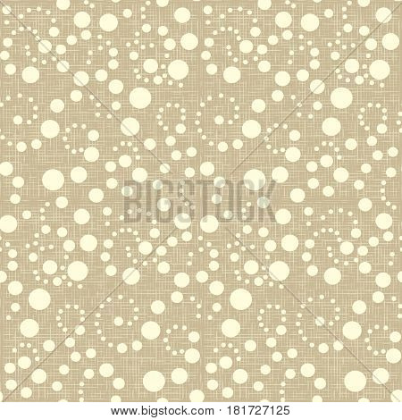 Abstract sack seamless pattern texture vector with white polka dots on beige background