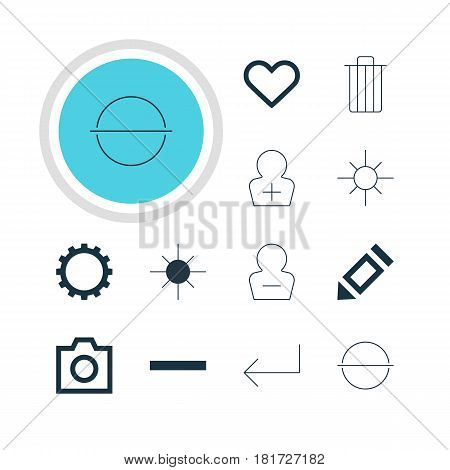 Vector Illustration Of 12 Member Icons. Editable Pack Of Emotion, Sunshine, Remove And Other Elements.