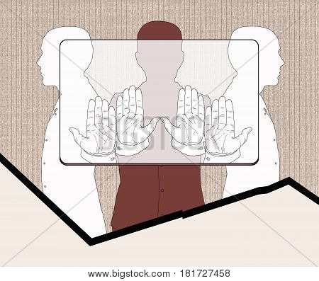 Three silhouettes of men holding a provisional rectangle according to the proportions corresponding to the bank plastic card. Linear drawing on a texture background