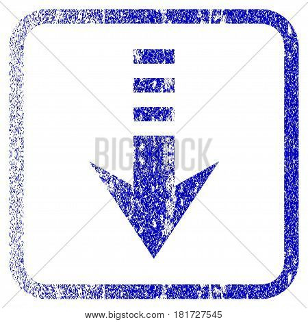 Send Down textured icon for overlay watermark stamps. Blue vectorized texture. Flat vector symbol with unclean design inside rounded square frame. Framed blue rubber seal stamp imitation.