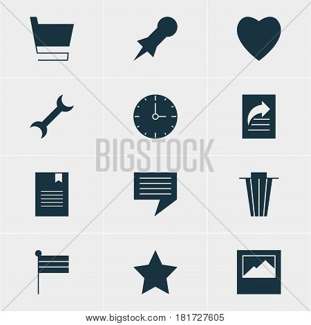 Vector Illustration Of 12 Web Icons. Editable Pack Of Bookmark, Trash, Settings And Other Elements.
