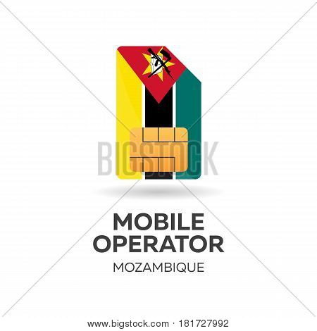 Mozambique Mobile Operator. Sim Card With Flag. Vector Illustration.