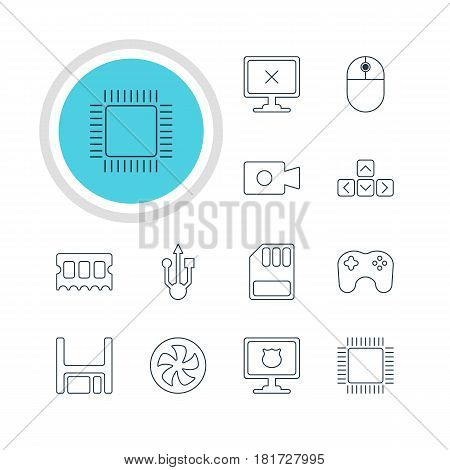 Vector Illustration Of 12 Computer Icons. Editable Pack Of Microprocessor, Gamepad, Storage And Other Elements.