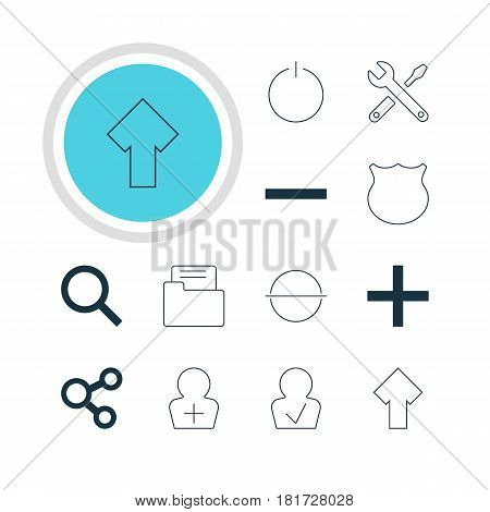 Vector Illustration Of 12 Member Icons. Editable Pack Of Minus, Dossier, Maintenance And Other Elements.