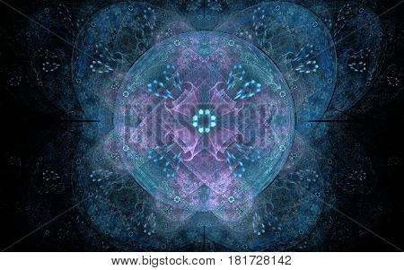 Abstract illustration of geometric shapes intertwined in a pattern in the form of a fantastic flower with sockets on a black background