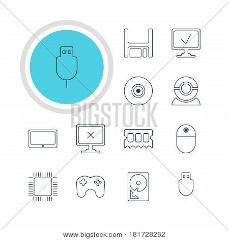 Vector Illustration Of 12 Computer Icons. Editable Pack Of Microprocessor, Gamepad, Tablet And Other Elements.