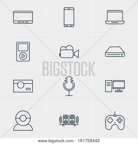Vector Illustration Of 12 Gadget Icons. Editable Pack Of Loudspeaker, Smartphone, Memory Storage And Other Elements.