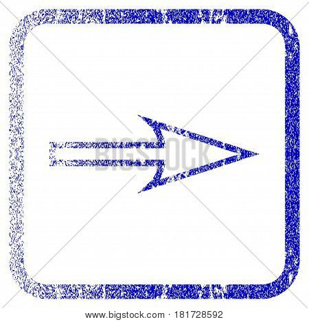 Sharp Arrow Right textured icon for overlay watermark stamps. Blue vectorized texture. Flat vector symbol with dust design inside rounded square frame. Framed blue rubber seal stamp imitation.