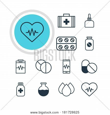 Vector Illustration Of 12 Medical Icons. Editable Pack Of Treatment, Trickle, Antibiotic And Other Elements.