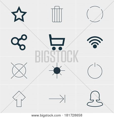 Vector Illustration Of 12 User Icons. Editable Pack Of Full Brightness, Switch Off, Asterisk And Other Elements.