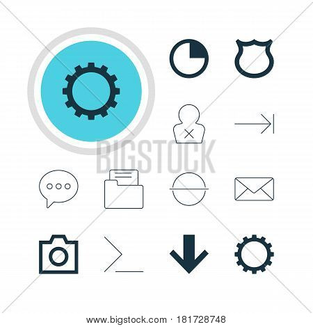Vector Illustration Of 12 Member Icons. Editable Pack Of Cogwheel, Snapshot, Tabulation Button And Other Elements.