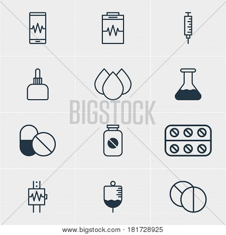 Vector Illustration Of 12 Medical Icons. Editable Pack Of Vaccinator, Antibody, Phone Monitor And Other Elements.