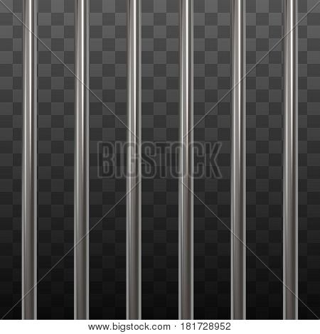Steel prison bars on black transparent background. Vector illustration.