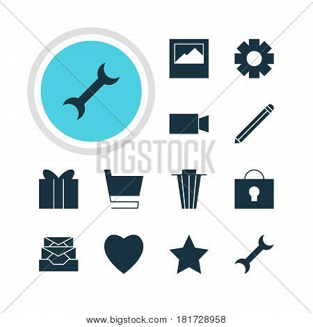 Vector Illustration Of 12 Online Icons. Editable Pack Of Trash, Pen, Keyhole And Other Elements.