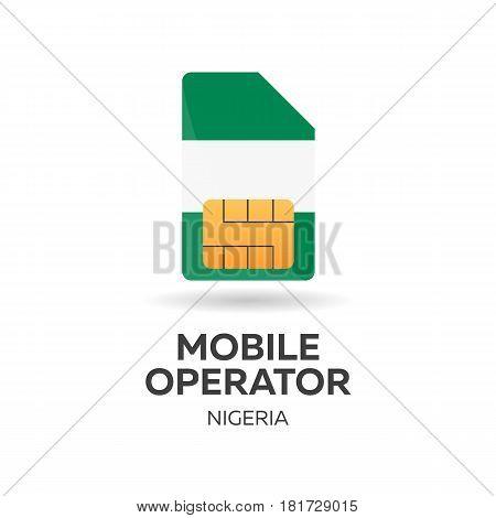 Nigeria Mobile Operator. Sim Card With Flag. Vector Illustration.