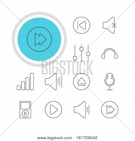 Vector Illustration Of 12 Music Icons. Editable Pack Of Earphone, Soundless, Stabilizer And Other Elements.