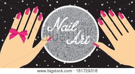 Woman hand with red fingernails. Gift certificate for a nail salon