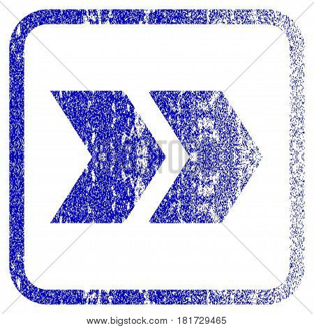 Shift Right textured icon for overlay watermark stamps. Blue vectorized texture. Flat vector symbol with dirty design inside rounded square frame. Framed blue rubber seal stamp imitation.