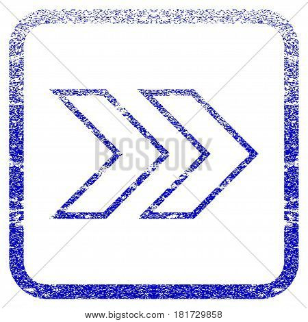 Shift Right textured icon for overlay watermark stamps. Blue vectorized texture. Flat vector symbol with unclean design inside rounded square frame. Framed blue rubber seal stamp imitation.