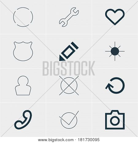 Vector Illustration Of 12 Member Icons. Editable Pack Of Emotion, Repeat, Pen And Other Elements.