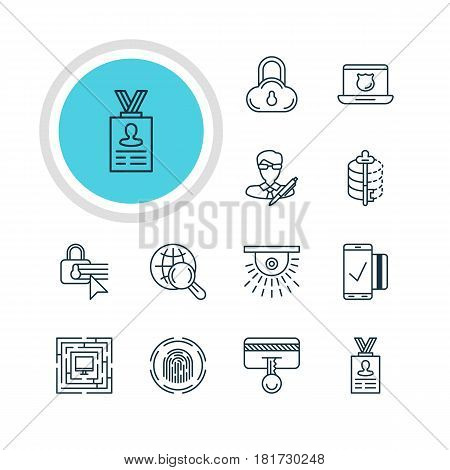 Vector Illustration Of 12 Internet Security Icons. Editable Pack Of Copyright, Finger Identifier, Easy Payment And Other Elements.