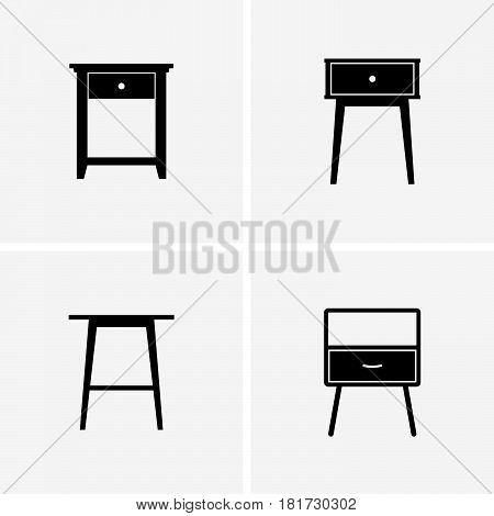 Set of four side tables on grey background