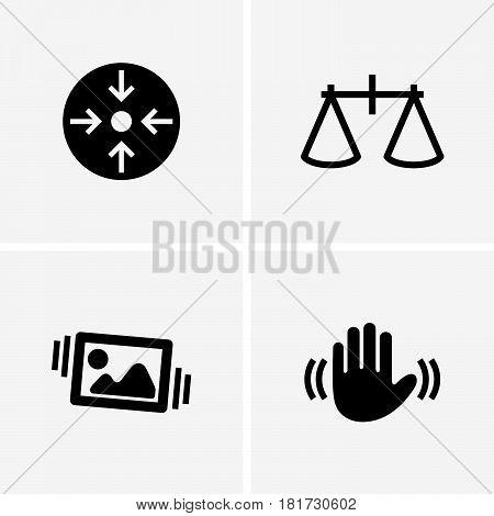 Set of four stabilization symbols on grey background