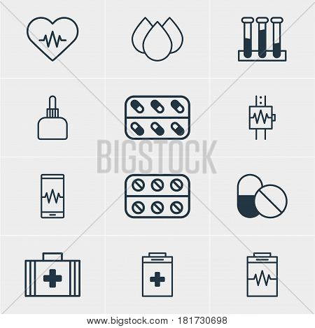 Vector Illustration Of 12 Medical Icons. Editable Pack Of Medicament Pitcher, Phone Monitor, Medical Bag And Other Elements.