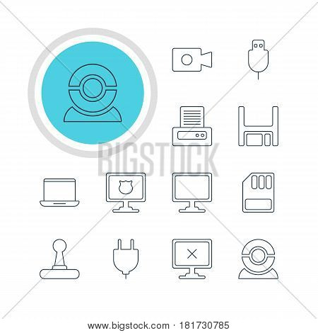 Vector Illustration Of 12 Notebook Icons. Editable Pack Of Storage, Screen, Game Controller And Other Elements.