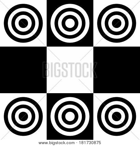 Classic checkers, black and white on white background