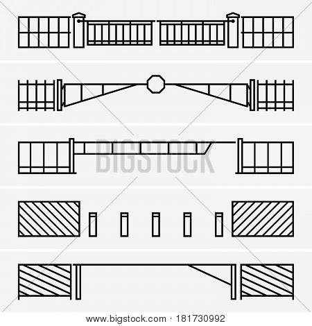 Set of five car barriers on light grey background