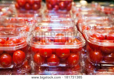 Cherry Tomatoes Packed In Plastic Containers