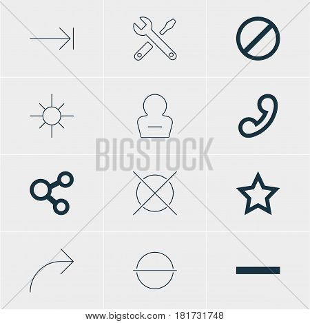 Vector Illustration Of 12 Interface Icons. Editable Pack Of Remove User, Cancel, Tabulation Button And Other Elements.