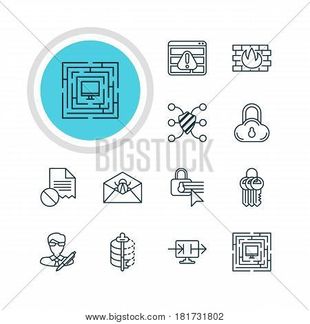 Vector Illustration Of 12 Web Safety Icons. Editable Pack Of Safe Storage, Confidentiality Options, Network Protection And Other Elements.