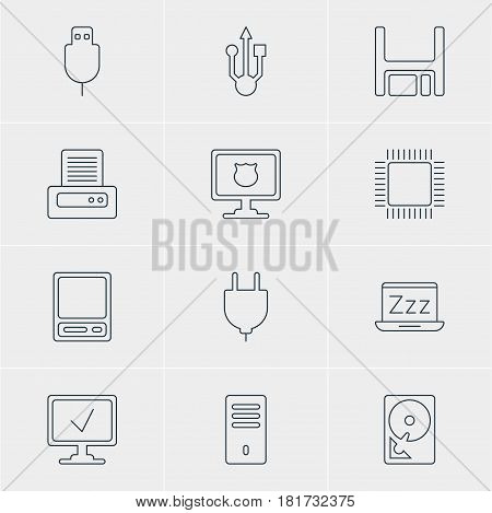 Vector Illustration Of 12 Laptop Icons. Editable Pack Of Serial Bus, Laptop, Microprocessor And Other Elements.