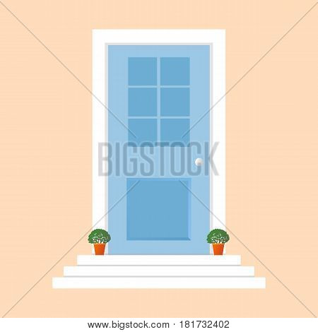 Colorful Door Concept. Door Flat Icon. Design Your Own Apartment.