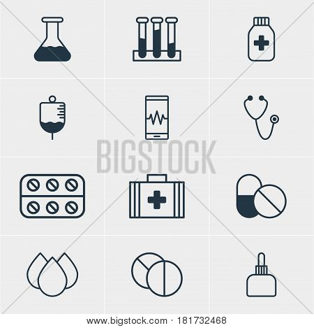 Vector Illustration Of 12 Medicine Icons. Editable Pack Of Medicine Jar, Antibiotic, Medicament Pitcher And Other Elements.