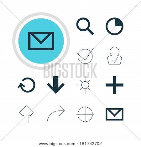 Vector Illustration Of 12 User Icons. Editable Pack Of Downward, Sunshine, Letter And Other Elements.