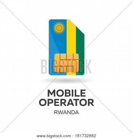 Rwanda Mobile Operator. Sim Card With Flag. Vector Illustration.