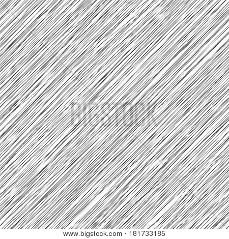 Vector monochrome seamless pattern. Irregular diagonal texture. Simple cute design. Abstract slanting lines background. Black and white  illustration.