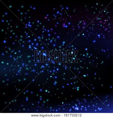 Vector Illustration of the dark blue night sky. Galaxy pattern with shining stars. Abstract space background. Colorful design.