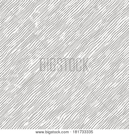 Vector illustration of seamless pattern. Irregular diagonal texture. Simple cute design. Abstract slanting lines background. Black and white  illustration.