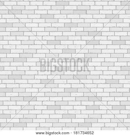 White and gray wall brick background. Rustic blocks texture template. Seamless pattern. Vector illustration of building block.